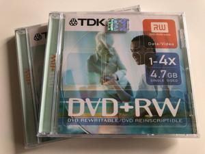 DVD+RW / TDK Blank Rewritable DVD disc / 1-4X - 4.7GB / Single Sided / Data/Video (4902030183462)