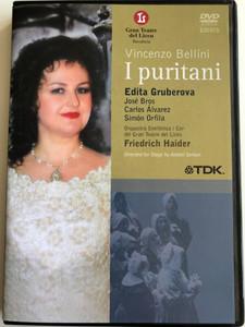 Vincenzo Bellini - I Puritani 2x DVD 2001 / Directed by Toni Bargalló / Recorded live at the Gran Teatre del Liceu, Barcelona / Conducted by Firedrich Haider / Edita Gruberova, José Bros, Carlos Álvarez (5450270012459)