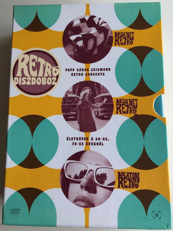 Retró Díszdoboz DVD BOX / Papp gábor Zsigmond Retró-Sorozata / Budapest Retró, Budapest Retró 2., Balaton Retró / Directed by Papp Gábor Zsigmond / Narrated by Máté Gábor / Hungarian Documentary about life in the 60's and 70's (5999544256811)