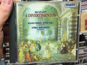 Mozart - 4 Divertimetos K. 439b / Kálmán Berkes, István Mali - clarinets, György Hortobágyi – bassoon / Hungaroton Classic Audio CD 1996 Stereo / HCD 11985