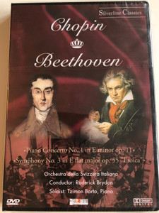 """Chopin, Beethoven – Piano Concerto No. 1 In E Minor Op. 11, Symphony No. 3 In E Flat Major Op. 55 """"Eroica"""" / Orchestra Della Svizzera Italiana, Roderick Brydon, Tzimon Barto / Cascade Medien DVD 1988 / 80008"""