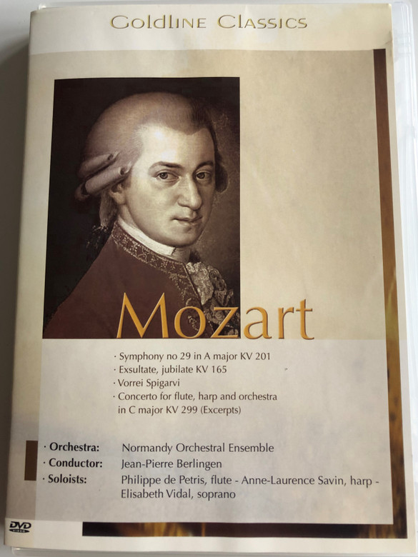 Mozart - Goldline Classics DVD 1994 Symphony no 29, Exsultate, jubilate KV 165, Vorrei Sigarvi / Normandy Orchestral Ensemble / Conducted by Jean-Pierre Berlingen / Recorded at St. George Abbey, Boscherville, France (4028462500155)