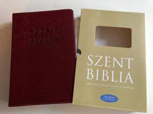 Szent Biblia / Hungarian Holy Bible with words of Jesus in RED /Leather bound Burgundy Cover, Golden edges, 2 bookmark ribbons / Bőrkötés, Bordó színű / Jézus szavai piros kiemeléssel / Patmos Records 2017 (9786155526619