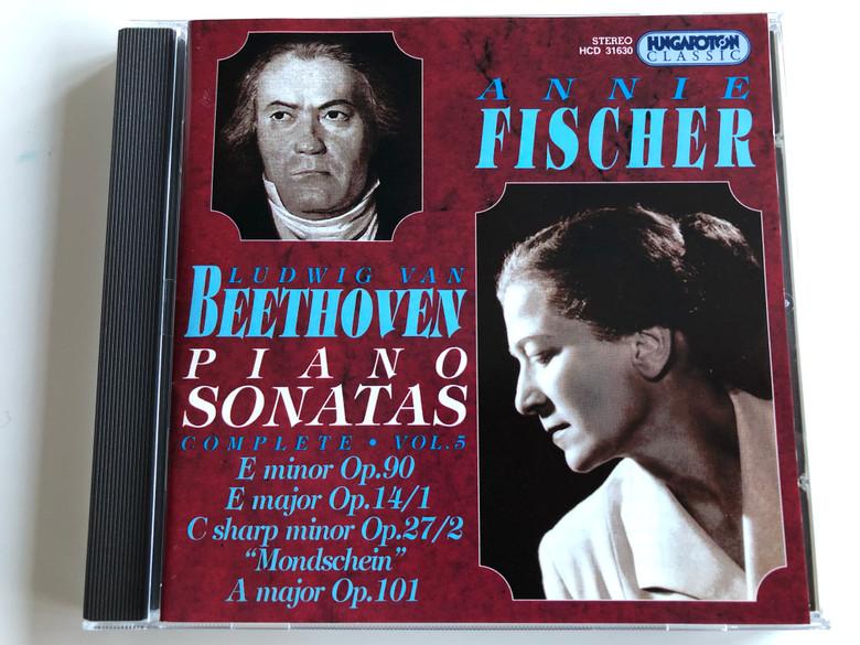 """Annie Fischer - Ludwig van Beethoven - Piano Sonatas / Complete, Vol. 5: E Minor Op. 90, E Major Op. 14/1, C Sharp Minor Op. 27/2 """"Mondschein"""", A Major Op.101 / Hungaroton Classic Audio CD 1997 Stereo / HCD 31630"""