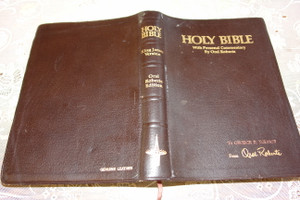Holy Bible with Personal Commentary by Oral Roberts / Genuine Leather Bound - King James Version with Concordance