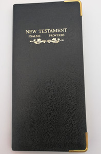 New Testament, Psalms and Proverbs / Authorized KJV / Words of CHRIST in RED / Indexed and marked - Theme of Salvation / World Bible Publishers 1982 / Black Genuine Bonded Leather SL7 (NTPsalmsProverbs)