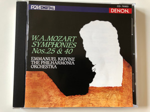 W. A. Mozart - Symphonies Nos. 25 & 40 / Emmanuel Krivine, The Philharmonia Orchestra / Nippon Columbia Co. Audio CD 1990 Stereo / CO-76103