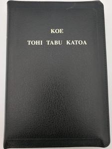 Tongan Holy Bible - Koe Tohi tabu Katoa / Black leatherbound with zipper & golden edges / Reprint of 1884 edition / Tohi Tabu motua, bea moe tohi oe fuakava foou / Bible Society New Zealand 2016 / 55WZ (9789822176346)