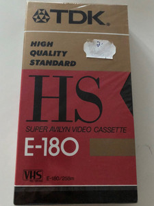 TDK E-180HS High Quality Standard VHS casette / Super Avilyn Video Casette / E-180-258m (4902030002985)