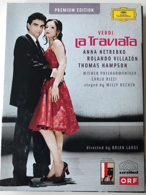 Verdi - La Traviata Premium Edition 2x DVD 2005 / Directed by Brian Large / Anna Netrebko, Rolando Villazón, Thomas Hampson / Wiener Philharmoniker - Conducted by Carlo Rizzi / Deutsche Grammophon / Bonus: Behind the scenes (044007341964)