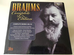 Brahms Complete Edition / Complete Works On CD Features award-winning recordings and acclaimed performers/ensembles, including Jaap van Zweden, Yehudi Menuhin, Daniel Barenboim... / Brilliant Classics Box Set 58x Audio CD 2014 / 94860