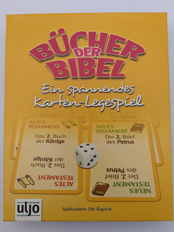 Bücher der Bibel by Ute Rapsch / German card laying game - Books of the Bible / Ages 10 and up / 72 cards - 72 karten / 1 dice - 1 Würfel / Uljo (BooksoftheBibleCardGame)