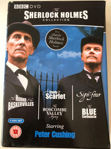 The Sherlock Holmes Collection BBC 3x DVD / The Hound of the Baskervilles - A Study in Scarlet - The Boscombe Valley Mystery - The Sign of four - The Blue Carbuncle / Directed by / Starring: Peter Cushing / 5 Classic Sherlock Holmes stories (5014503153328)