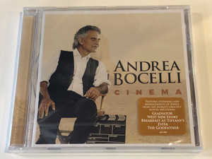 Andrea Bocelli – Cinema / Features stunning new Arrangements of songs from the world's greatest movies including Gladiator, West Side Story, Breakfast at Tiffany's, Evita, The Godfather / Sugar Audio CD 2015 / 4811885