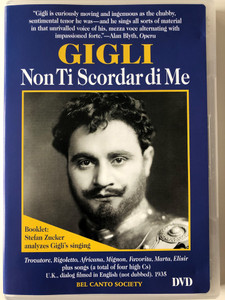 Gigli - Non Ti Scordar di Me DVD 1935 / Bel Canto Society BCS-D0504 / Directed by Zoltan Korda / Essay and notes by Stefan Zucker (789984050460)