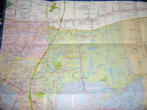 Map of Bangkok Large Size / Large Type / Bilingual English - Thai Language