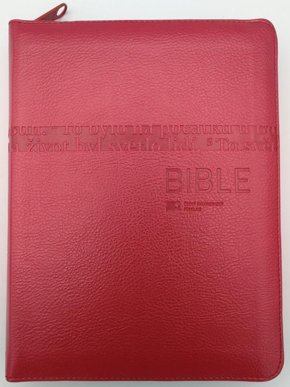 Leather Bound Czech Bible - Ecumenical translation / Red with zipper & thumb index / Pismo Svaté Starého a Nového Zakona / Český Ekumenický překlad / Česká biblicka společnost 2019 / With Deuterocanonical books (9788075450883)