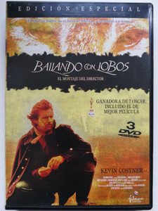 Dances with Wolves 3DVD 1990 Bailando con Lobos / Spanish release Director's cut / Directed by Kevin Costner / Starring: Kevin Costner, Mary McDonnell, Graham Greene, Rodney Grant (8420018999905)