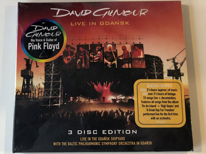 David Gilmour – Live In Gdańsk / 3 Disc Edition / Live In The Gdańsk Shipyard With The Philharmonic Symphony Orchestra In Gdańsk / David Gilmour Music Ltd. 2x Audio CD + DVD 2005 / 5099923548923