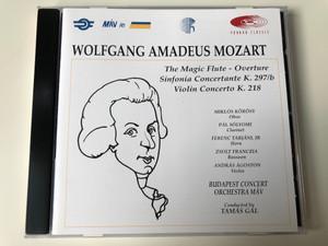 Wolfgang Amadeus Mozart - The Magic Flute-Overture, Sinfonia Concertante K. 297/b, Violin Concerto K. 2158 / Miklos Korosy - oboe, Pal Solyomi - clarinet, Ferenc Tarjani Jr - horn, Zsolt Franczia - bassoon / Pannon Classic Audio CD 1997 / PCL 8012