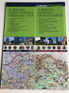 A Magyar Szent Korona Országai - 1914 (1:1 160 000) / A Kárpát-medence nevezetességei (1:1 160 000) - duótérkép / The states of the Hungarian Crown - 1914 - Sights of the Carpathian Basin dual map / Corvina Térképek (9789631361100)