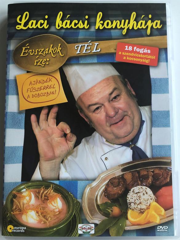 Laci bácsi konyhája DVD Évszakok íze - Tél / Hungarian recipes for winter / 18 fogás a szendvicstortáról a kocsonyáig / Pulykamell őszikék, Hubertus krém, Tanyasi töltött nyúl / Europa Records (5999883108611)