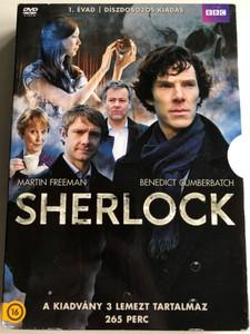 Sherlock TV series Season 1 DVD Box 2010 Sherlock 1. évad 3DVD Díszdobozos kiadás / Created by Mark Gatiss, Steven Moffat / Starring: Benedict Cumberbatch, Martin Freeman, Rupert Graves, Una Stubbs (5996473014178)