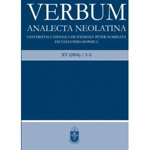VERBUM 2014/1–2 / Analecta Neolatina / Balassi Kiadó / Neolatin journal / Paperback (VerbumXV20141-2)