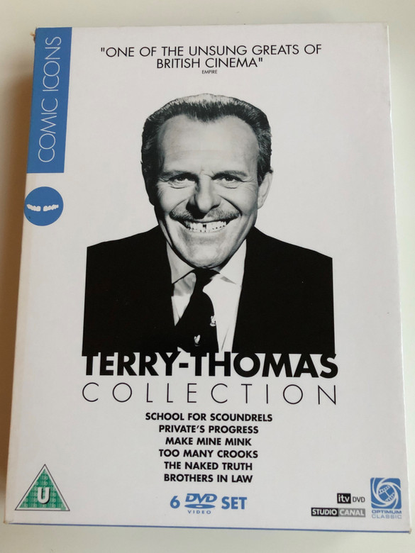 Terry-Thomas Collection 6 DVD SET / School for Scoundrels, Private's Progress, Make mine Mink, Too many Crooks, The Naked Truth, Brothers in Law / Comic Icons Series (5060034578758)