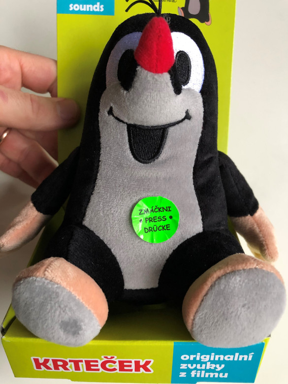 Krtek - The Little mole plush toy with original film sounds / Krteček - Originální filmové zvuky - Krtek 15cm sedici, mluvici / Age 1+ / The Most favourite Czech animated character / Der kleine Maulwurf (8590121489119)