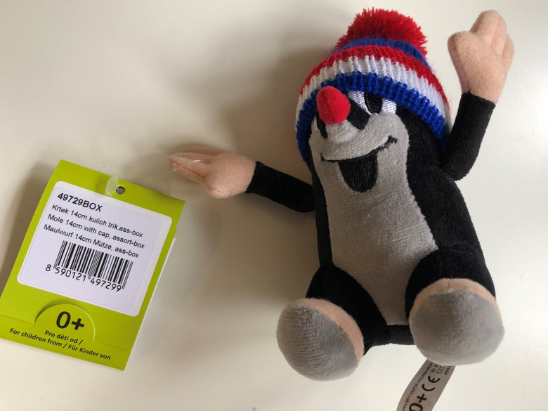 Krtek 14 cm plush toy - with cap - Krtek a kamarádi - Krtek 14cm kulich trik. The Little mole and his friends - assort box / Maulwurf und Freunde / Kisvakond és barátai - Sapkás kisvakond, 14cm / Krteček / Age 0+ / The Most favourite Czech animated character (8590121497299)