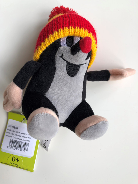 The Little Mole with red & yellow cap 12 cm plush toy / Krtek - Krteček 12 cm kulich / Der klein Maulwurf rot & gelb kappe / Kisvakond Piros-sárga téli sapkával / Ages 0+ (8590121497107)