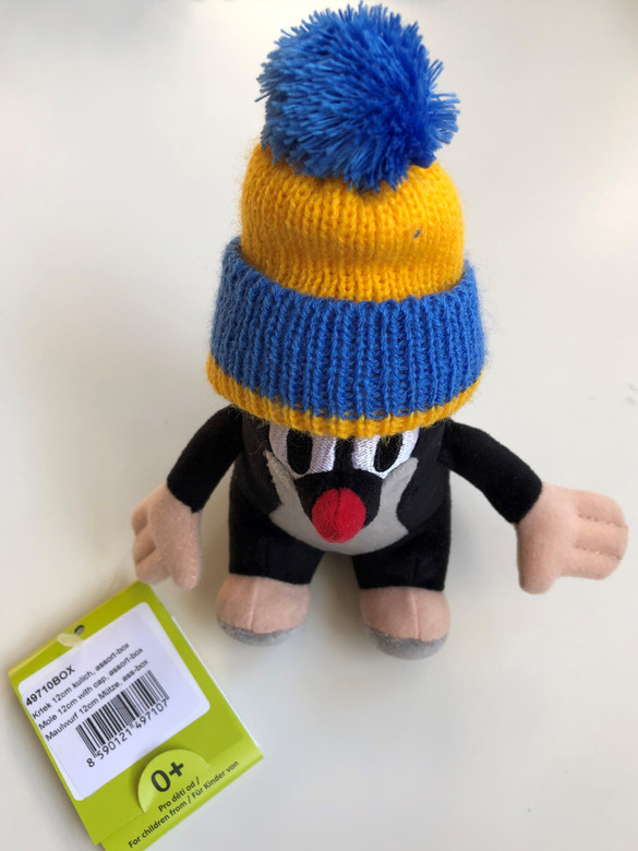 The Little Mole with blue & yellow hat 12 cm plush toy / Krtek - Krteček 12 cm kulich / Der klein Maulwurf blau & gelb kappe / Kisvakond Kék-sárga téli sapkával / Ages 0+ (8590121497107.)