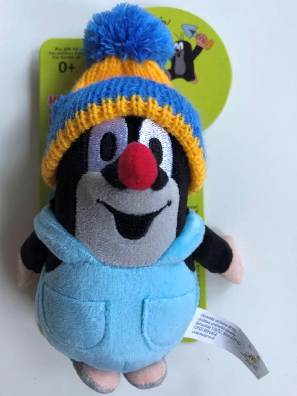 Krtek - Little mole in trousers & blue cap 14cm plush toy / Kleine Maulwurf hose & blau mütze / Krteček kalhot. + modr. kulich / Nadrágos kisvakond piros-sárga sapkával / 49918H (8590121501880)