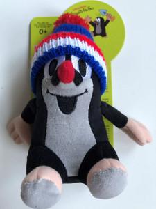 Krtek - Little Mole 14 cm sitting blue tricolor hat / Krteček sedíci, kulich modry-trik / Maulwurf sitz. Mütze blau / Ülő Kisvakond sapkával - 3 színű kék / Ages 0+ / 49916I (8590121505079)