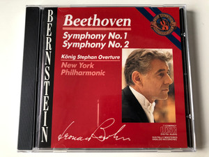 Bernstein - Beethoven - Symphony No. 1, Symphony No. 2 / Konig Stephan Overture / New York Philharmonic Orchestra / CBS Masterworks ‎Audio CD 1986 Stereo / MK 42219