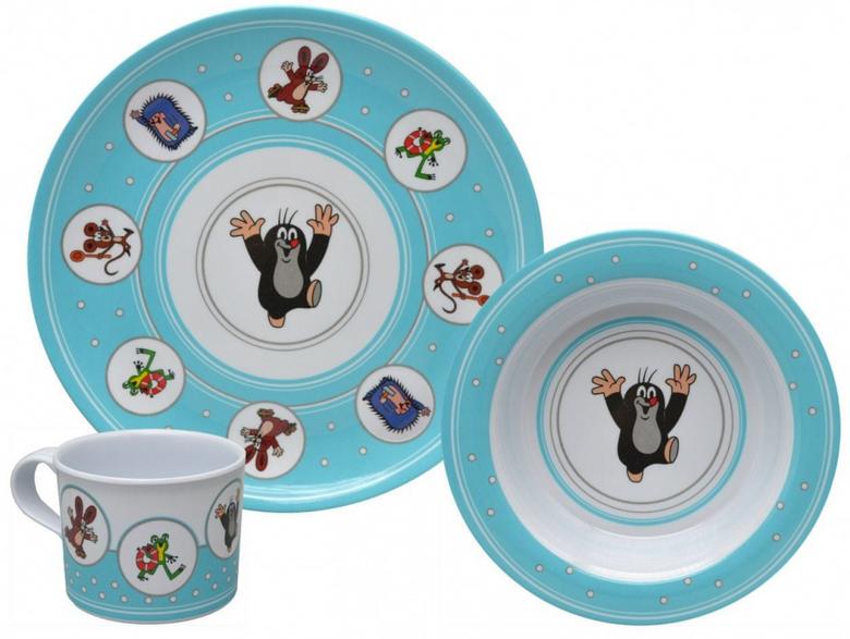 Krtek - Little Mole Kid's tableware 3 pcs, blue - Krteček Dětské nádobí - Der Kleine Maulwurf - Kindergeschirr / Kisvakond gyerek étkészlet / 68715A / Sada nádobi 3d. Krtek, modrá (8590121687157)