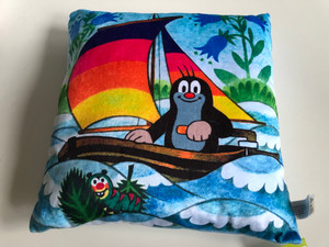 Krtek - Little Mole Pillow 30x30cm - yachtsman / Krtek polštář, jachtar / Kissen Maulwurf, segel / Kisvakond párna, vitorlás / Designed and Hand made in Czech Republic / 99915C (8590121999151)