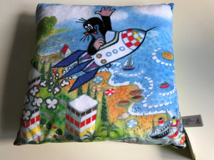 Krtek - Little Mole Pillow 30x30cm - rocket / Krtek polštář, raketa / Kissen Maulwurf, raket / Kisvakond párna, rakéta / Designed and Hand made in Czech Republic / 99915D (8590121999104)
