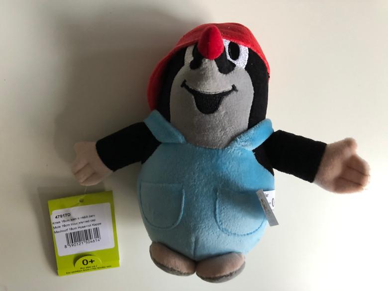Little mole in trousers & red cap 16cm plush toy / Kleine Maulwurf hose & rot kappe / Krteček kalhot. + červ.ž kšilt./ Nadrágos kisvakond piros-sárga micivel / 47917D (8590121504614)