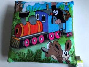 Krtek - Little Mole Pillow 30x30cm - locomotive / Krteček polštář, mašinka / Kissen Maulwurf, Maschine / Kisvakond párna, mozdony / Designed and Hand made in Czech Republic / 99915A (8590121502863)