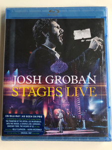 Josh Groban Stages Live CD/Blu-ray disc 2015 As seen on PBS / Produced by Humberto Gatica, Tim Swift, Kristi Foley, Diarmuid Quinn / Live performances The Phantom of the Opera, Les Misérables, Into the Woods / Reprise Records (093624921493)