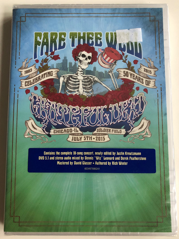Fare Thee Well 2DVD Celebrating 50 years of Grateful Dead 1965-2015 / Directed by Justin Kreuizmann / Contains the complete 18-song concert / Authored by Rich Winter / Rhino (603497886241)
