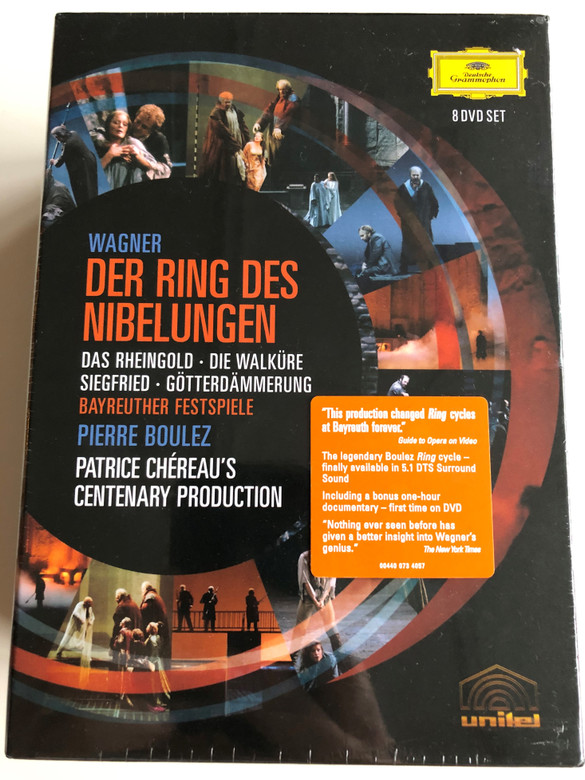 R. Wagner - Der Ring des Nibelungen 8 DVD SET Bayreuther Festspiele / Pierre Boulez / Directed by Brian Large / Patrice Chéreau's Centenary Production / Bonus - Making of the Ring documentary (044007340578)