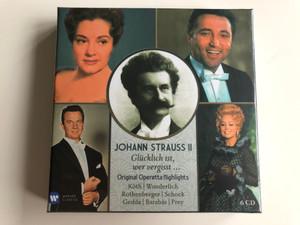 Johann Strauss II - Glucklich ist, wer vergisst ... / Original Operetta Highlights / Koth, Wunderlich, Rothenberger, Schock, Gedda, Barabas, Prey / Warner Classics 6x Audio CD 2013 / 5099943128020