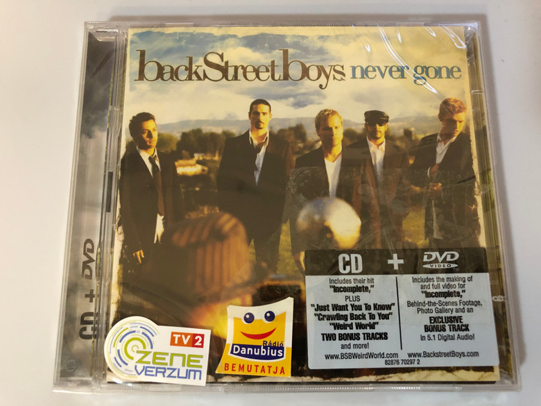 Backstreet Boys – Never Gone / CD includes their hit ''Incomplete'' plus ''Just Want You To Know'' + DVD includes the making of and full video for ''Incomplete'' / Jive Audio CD + DVD CD 2005 / 82876 70297 2