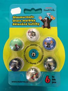 Krtek Glass marbles 6 pcs / Krtiček - Kuličky skleněné 6 ks / Maulwurf und seine Freunde als Glasmurmeln 6 Stk / 66001G / Ages 3+ (8590121660013)
