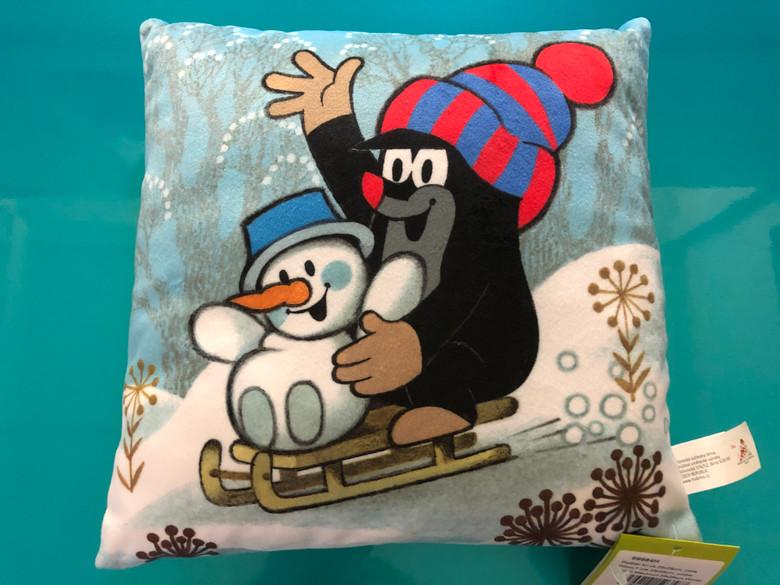 Pillow Mole 25x25cm, winter / Polštář Krtek 25x25cm, zima (Krteček) / Kissen Maulwurf 25x25cm, Winter / Kisvakond párna, tél / Hand made and designed in Czech Republic / 99984H (8590121503587)