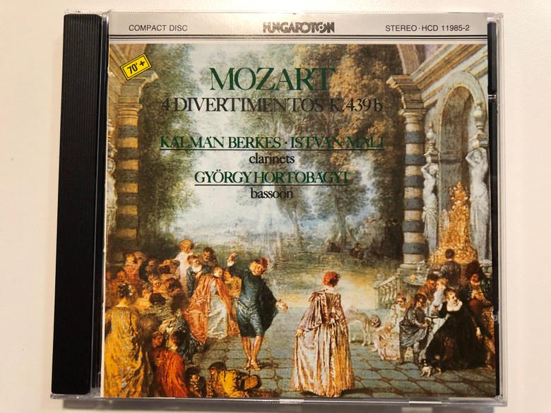 Mozart – 4 Divertimetos K. 439b / Kálmán Berkes, István Mali - clarinets, Gyorgy Hortobagyi - basssoon / Hungaroton Classic Audio CD 1979 Stereo / HCD 11985-2
