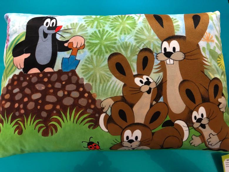 Polštář Krtek 45x30cm, zajíci / Pillow Little Mole 45x30cm, hares / Kissen Maulwurf 45x30, Hasen / Kisvakond párna 45x30, nyuszik / 99914H (8590121504379)